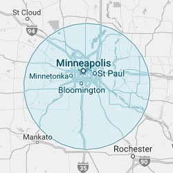 Glass Service Area Map of the Twin Cities