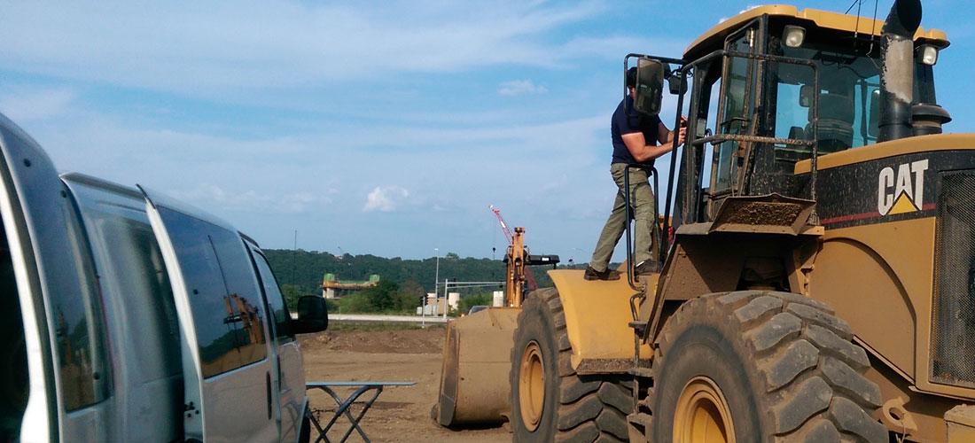 construction equipment glass